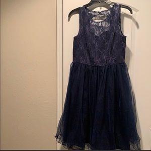 Formal Lace Ruffled Hemline Dress